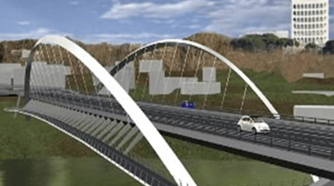 Lavori in corso all'altezza Magliana Roma-Fiumicino. Un ponte per l'Eur