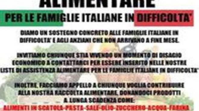 """CasaPound: """"Prosegue la raccolta alimentare per le famiglie Italiane"""""""