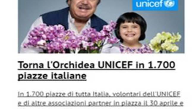 Unicef, torna iniziativa dell'Orchidea per i bambini