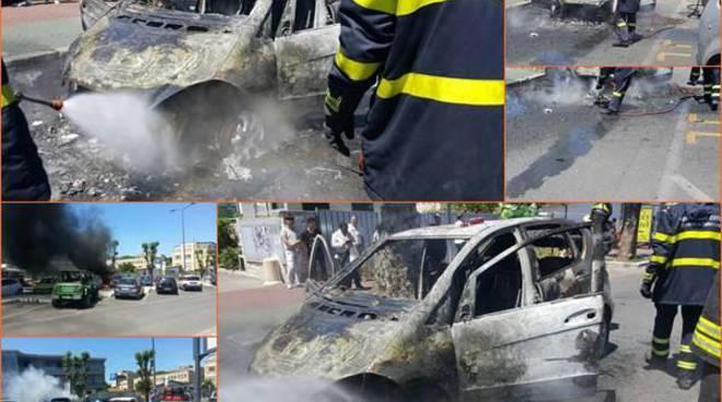 Paura a Fiumicino, auto a fuoco in via delle Ombrine