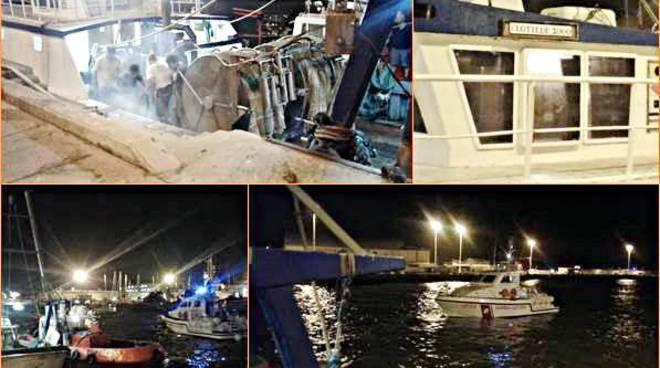 Falla in un peschereccio, notte di paura al Porto canale