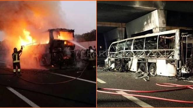 bus ungherese incendiato