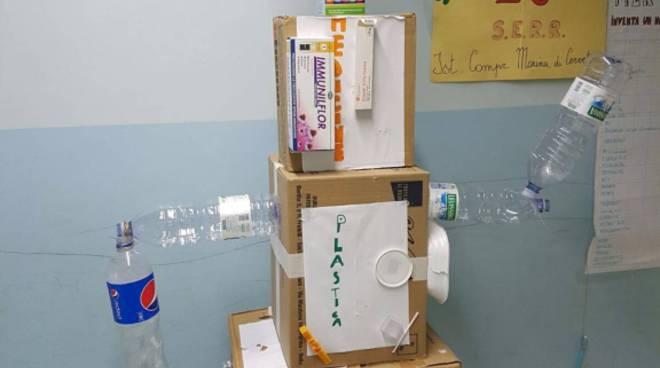 robot costruito con materiali da riciclo