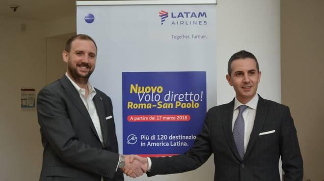 Aeroporto Fiumicino Adr e Latam nuova tratta per san Paolo