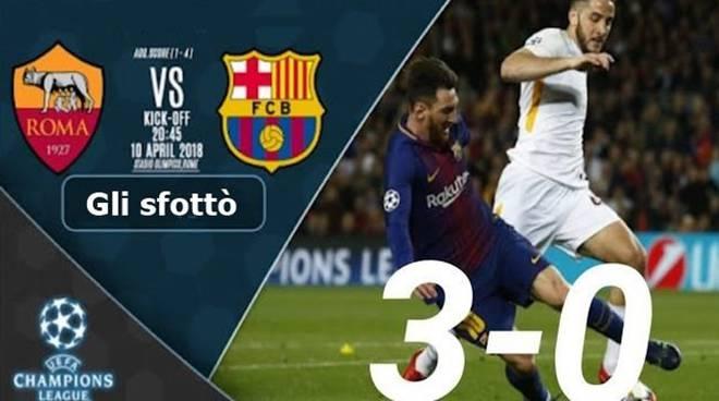 ironia Roma Barcellona 3-0