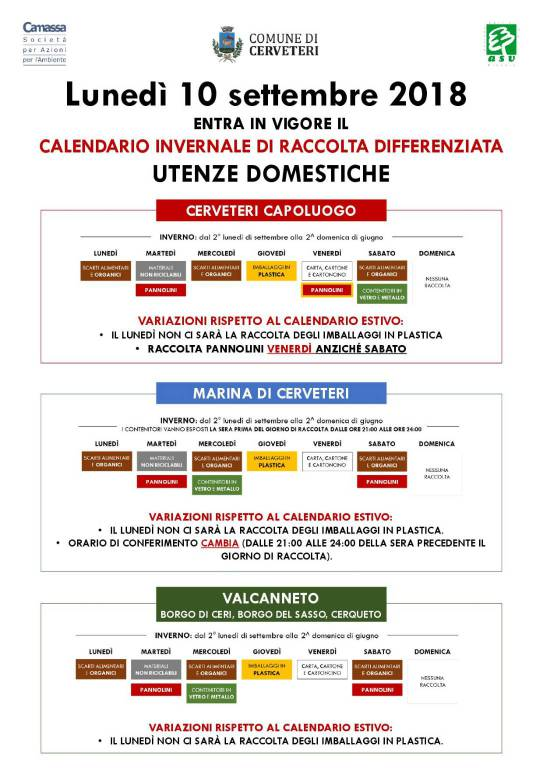 Calendario Differenziata.Raccolta Differenziata A Cerveteri Entra In Vigore Il