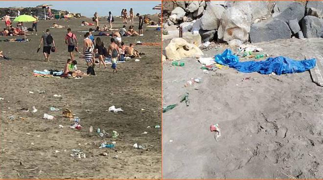 rifiuti spiaggia ladispoli