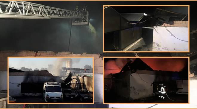 Ardea, a fuoco un deposito di pneumatici in via Valle Caia