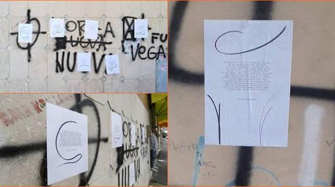 svastiche fiumicino scritte sui muri
