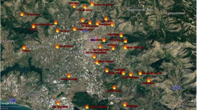 """Fondi, la """"Mappa del fuoco"""""""
