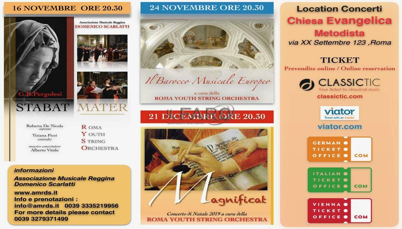 Nuova stagione di concerti organizzata a Roma dall'Associazione Musicale Reggina Domenico Scarlatti in collaborazione con la Roma Youth String Orchestra