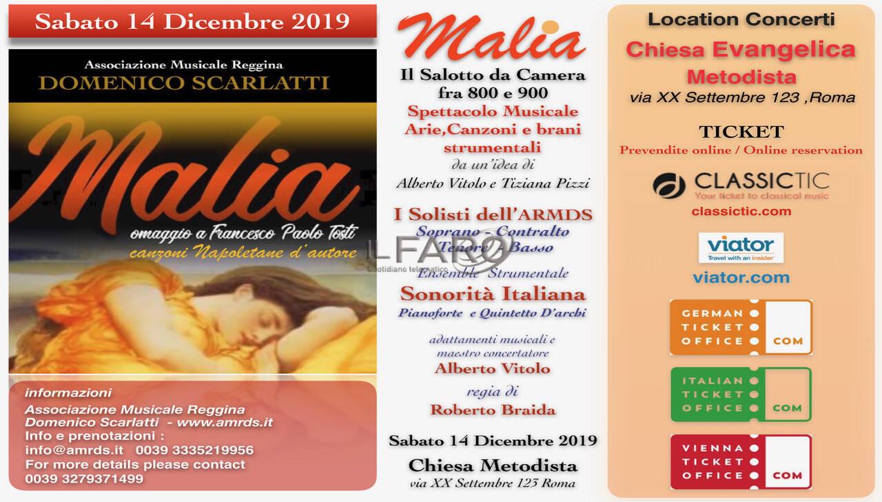 Malìa: concerto-spettacolo alla Chiesa Metodista, sabato 14 dicembre ore 20:30