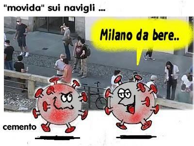 vignetta satira coronavirus milano