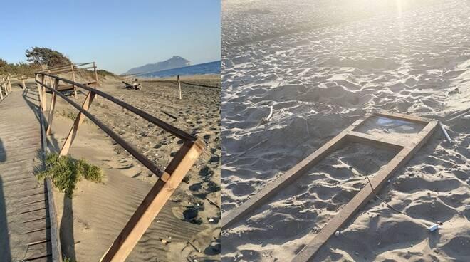Atto vandalico a Sabaudia: danneggiata una passerella sul lungomare