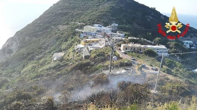 Incendio a Ponza, bruciati 2 ettari di macchia mediterranea