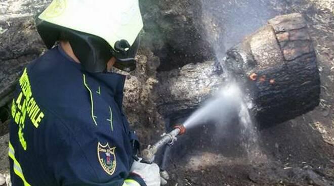 incendio protezione civile fiumicino