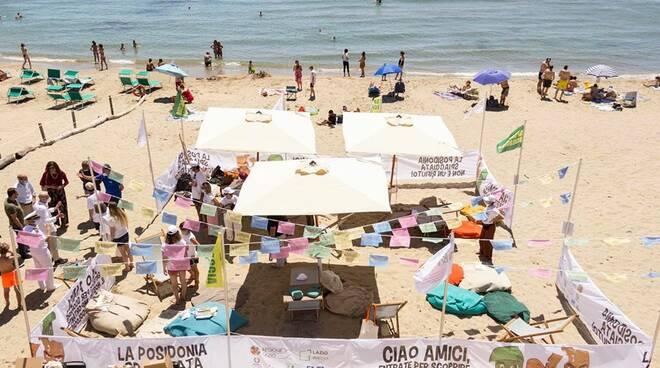 """Posidonia oceanica per garantire il distanziamento sociale: A San Felice Circeo presentata la spiaggia """"green"""""""
