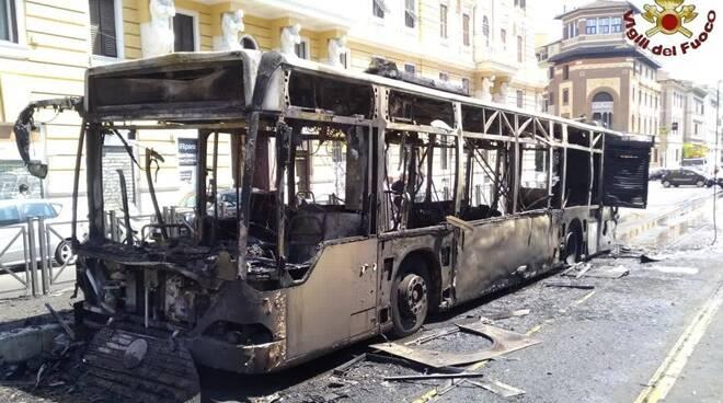 autobus in fiamme - Roma