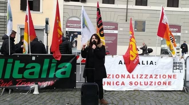 barbara bonanni protesta lavoratori alitalia