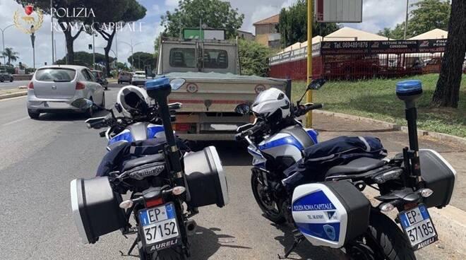 trasporto calcinacci via cristoforo colombo polizia locale