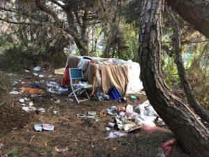 Accampamenti abusivi nella pineta di Castelfusano