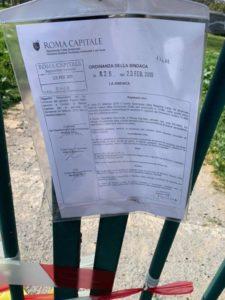 La determina dirigenziale del X Municipio che ordina la chiusura del Parco Pallotta