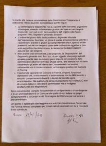 Commissione Trasparenza a Formia, Conte: