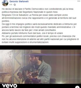Aria di rivoluzione a Minturno: il sindaco Stefanelli lascia il Partito democratico - IlFaroOnline.it