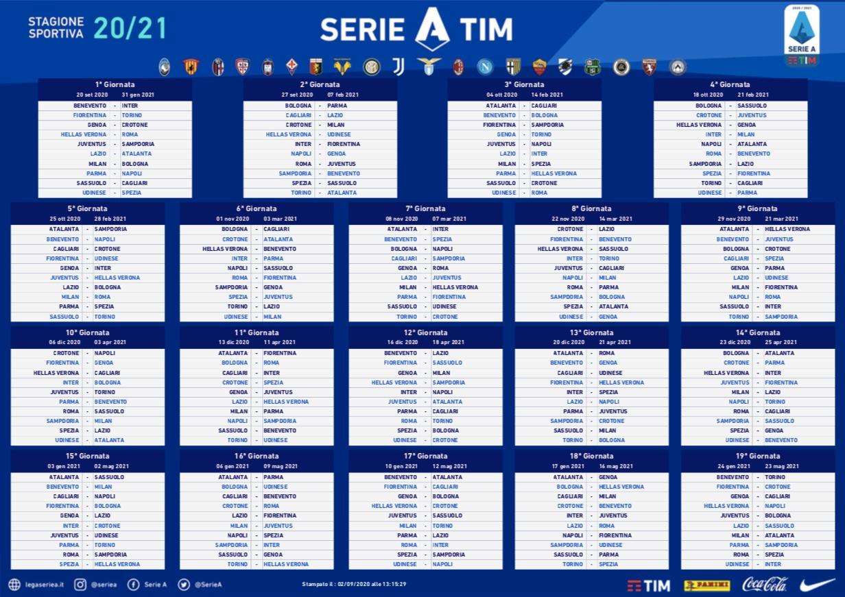 Serie A, ecco il calendario completo del campionato italiano 2020